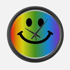 Rainbow Smiley Large Wall Clock