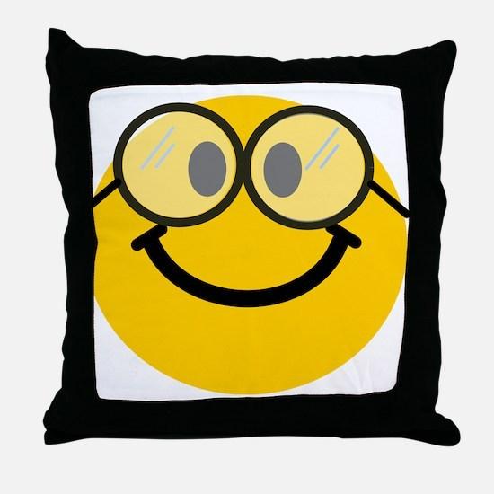 Geek Smiley Throw Pillow