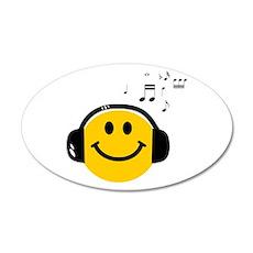 Music Loving Smiley 22x14 Oval Wall Peel