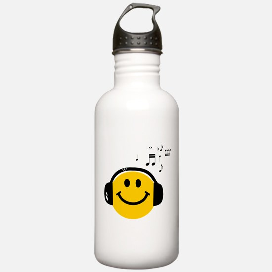 Music Loving Smiley Water Bottle