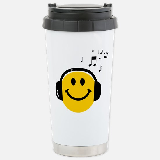 Music Loving Smiley Stainless Steel Travel Mug
