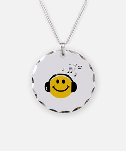 Music Loving Smiley Necklace Circle Charm