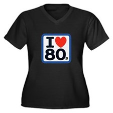 I Heart 80s Women's Plus Size V-Neck Dark T-Shirt