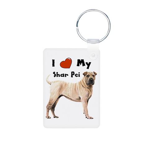 I Love My Shar Pei Aluminum Photo Keychain