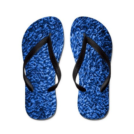 Blue Shag Carpet Flip Flops