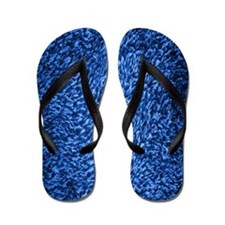 Blue Shag Carpet Flip Flops