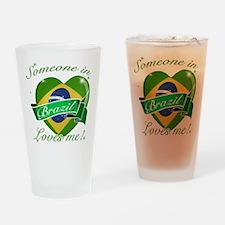 Brazil Flag Design Drinking Glass