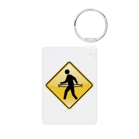 Pedestrian Hula-Hoop Aluminum Photo Keychain