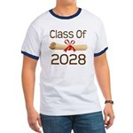 2028 School Class Diploma Ringer T