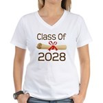 2028 School Class Diploma Women's V-Neck T-Shirt