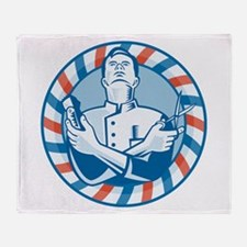Barber With Clipper Throw Blanket