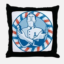 Barber With Clipper Throw Pillow