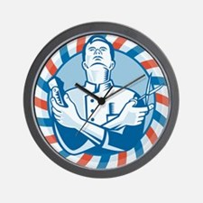 Barber With Clipper Wall Clock
