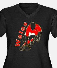 Wales Rugby Designed Women's Plus Size V-Neck Dark