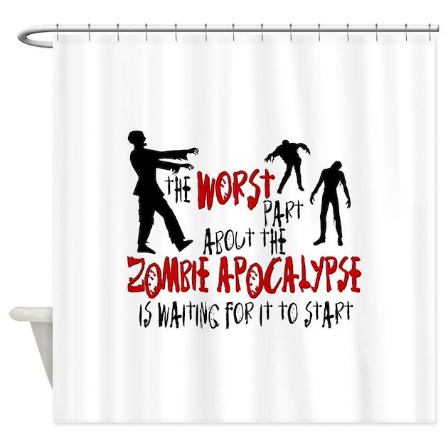Zombie apocalypse waiting shower curtain by insanitycafe for Zombie bathroom decor