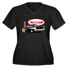 57 Chevy Dragster Women's Plus Size V-Neck Dark T-