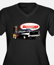57 Chevy Dragster Women's Plus Size V-Neck Dark T-