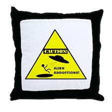 Caution! Alien Abduction! Throw Pillow