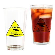 Caution! Alien Abduction! Drinking Glass