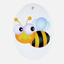 Cute Cartoon Bumble Bee Ornament (Oval)