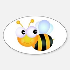 Cute Cartoon Bumble Bee Sticker (Oval)