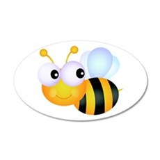 Cute Cartoon Bumble Bee 38.5 x 24.5 Oval Wall Peel