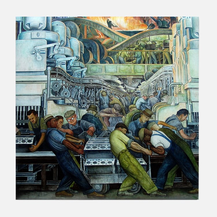 Diego Rivera Detroit Mural Art Tile Coaster