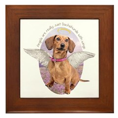 Dachshund Angel Framed Tile