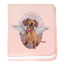 Dachshund Angel baby blanket
