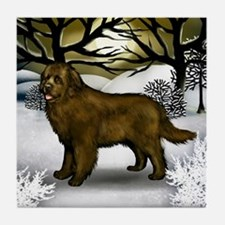 Brown Newfoundland Dog Winter Tile Coaster