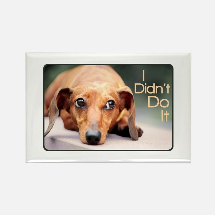"""I Didn't Do It"" Dachshund Rectangle Magnet"