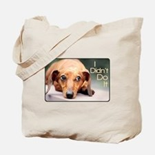 """I Didn't Do It"" Dachshund Tote Bag"