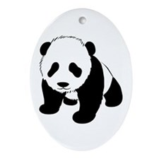 Baby Panda Cub Crawling Ornament (Oval)