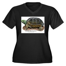 Desert Box Turtle Women's Plus Size V-Neck Dark T-