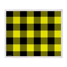 Yellow and Black Checkered Throw Blanket