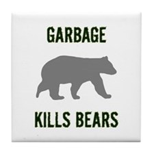 Garbage Kills Bears Tile Coaster