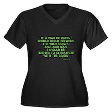Man vs Beast Women's Plus Size V-Neck Dark T-Shirt