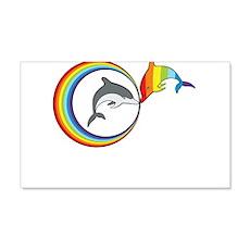 Rainbow Dolphin 22x14 Wall Peel