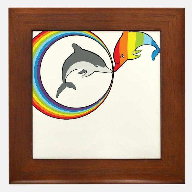 Rainbow Dolphin Framed Tile