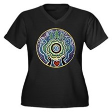 Funny Heart Women's Plus Size V-Neck Dark T-Shirt