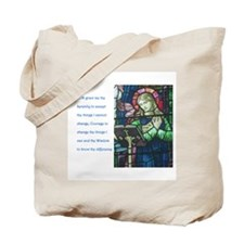 Serenity Prayer with figure reading Tote Bag