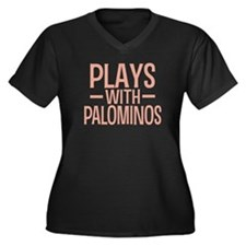 PLAYS Palominos Women's Plus Size V-Neck Dark T-Sh