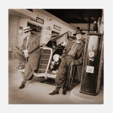 Retro 1949s Zoot Suit Gas Station Art Tile Coaster