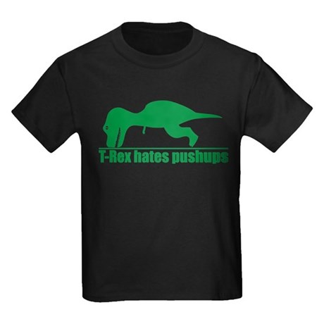 Trex Hates Pushups Kids Dark T-Shirt