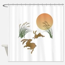 Moon, japanese pampas grass and rab Shower Curtain