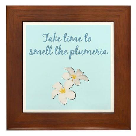 Smell the Plumeria (Powder Blue) Framed Tile