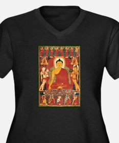 Vintage Buddha Art Women's Plus Size V-Neck Dark T