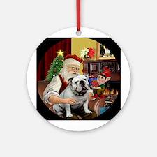 Santa's white English Bulldog Ornament (Round)
