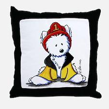 Fireman Westie Throw Pillow