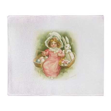 """Cute Easter Bunny"" Throw Blanket"
